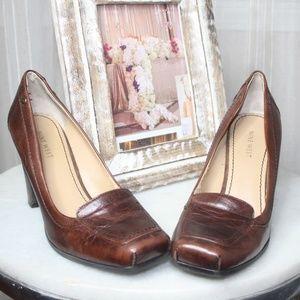 Nine West 'Daniah'  Brown Leather Loafer Pumps